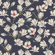 Art gallery, puuvilla: Magnolia Night, navy blue