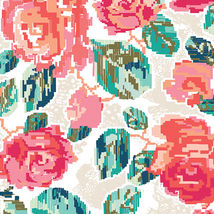 Art Gallery Fabrics, trikoo: Flowered Engrams, roosa-minttu